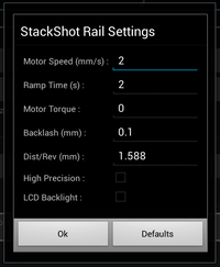Android-Stackshot Settings